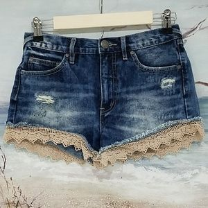FREE PEOPLE LACED DENIM JEAN DISTRESSED SHORTS